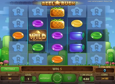Win up to 480,000 coins in Reel Rush slot at Casumo.