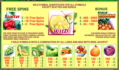 Fruit Slot Pay Table
