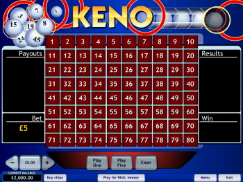 Play online keno for free