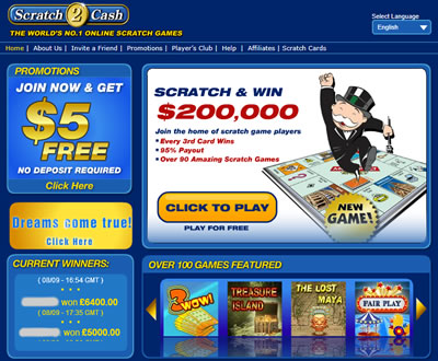 Scratch 2 Cash Online Scratch Offs