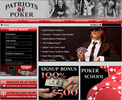 Patriots of Poker Online