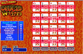 Multi-Hand Deuces Wild Video Poker