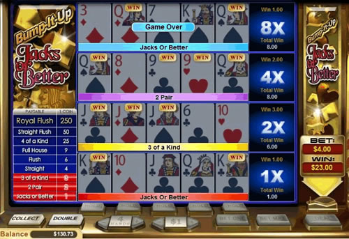 Bump-It-Up Jacks or Better Video Poker Game