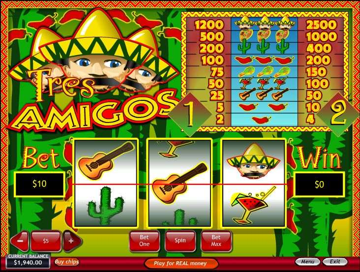 3 Amigos Slots Review & Free Instant Play Casino Game