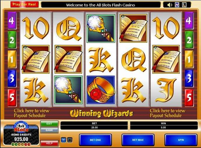 online slots wizards win