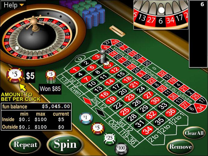 online casino table games european roulette